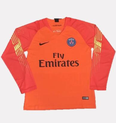 PSG Goalkeeper Long Sleeve Soccer Jerseys 2018-19 Orange Football Shirts
